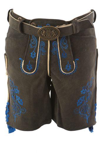 Südlichst Lederhose Hirsch antikschwarz Stick blau